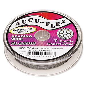beading wire, accu-flex, nylon and stainless steel, clear, 7 strand, 0.0083-inch diameter. sold per 100-foot spool.