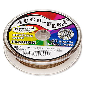 beading wire, accu-flex, nylon and stainless steel, copper, 49 strand, 0.019-inch diameter. sold per 30-foot spool.