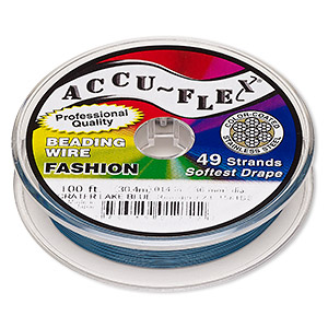 beading wire, accu-flex, nylon and stainless steel, crater lake blue, 49 strand, 0.014-inch diameter. sold per 100-foot spool.