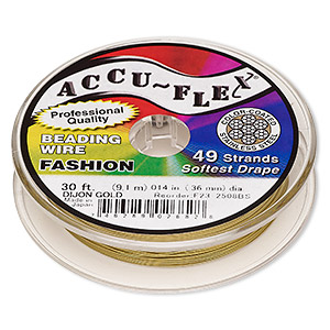 beading wire, accu-flex, nylon and stainless steel, dijon gold, 49 strand, 0.014-inch diameter. sold per 30-foot spool.