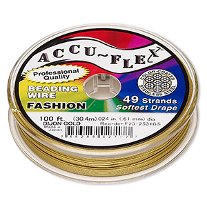 beading wire, accu-flex, nylon and stainless steel, dijon gold, 49 strand, 0.024-inch diameter. sold per 100-foot spool.