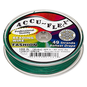 beading wire, accu-flex, nylon and stainless steel, forest green, 49 strand, 0.024-inch diameter. sold per 100-foot spool.