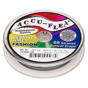 beading wire, accu-flex, nylon and stainless steel, gunmetal, 49 strand, 0.014-inch diameter. sold per 30-foot spool.