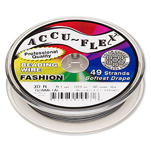 beading wire, accu-flex, nylon and stainless steel, gunmetal, 49 strand, 0.019-inch diameter. sold per 30-foot spool.