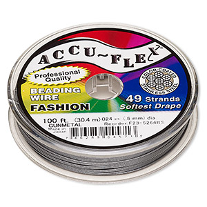 beading wire, accu-flex, nylon and stainless steel, gunmetal, 49 strand, 0.024-inch diameter. sold per 100-foot spool.