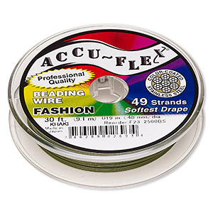 beading wire, accu-flex, nylon and stainless steel, khaki, 49 strand, 0.019-inch diameter. sold per 30-foot spool.