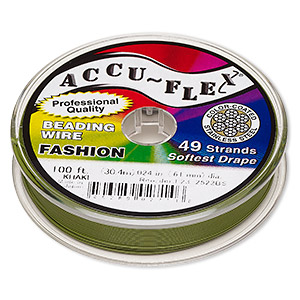 beading wire, accu-flex, nylon and stainless steel, khaki, 49 strand, 0.024-inch diameter. sold per 100-foot spool.