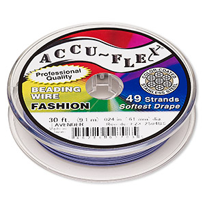 beading wire, accu-flex, nylon and stainless steel, lavender, 49 strand, 0.024-inch diameter. sold per 30-foot spool.
