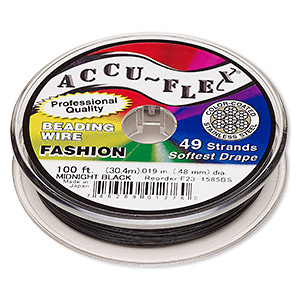 beading wire, accu-flex, nylon and stainless steel, midnight black, 49 strand, 0.019-inch diameter. sold per 100-foot spool.