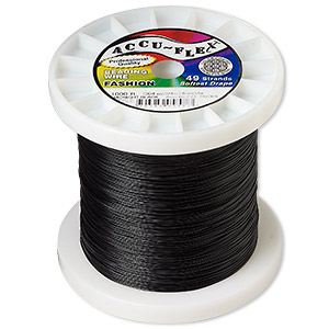 beading wire, accu-flex, nylon and stainless steel, midnight black, 49 strand, 0.024-inch diameter. sold per 1,000-foot spool.