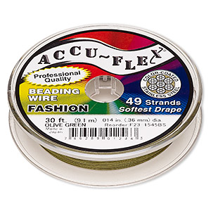 beading wire, accu-flex, nylon and stainless steel, olive green, 49 strand, 0.014-inch diameter. sold per 30-foot spool.