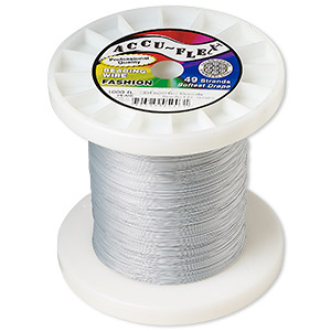 beading wire, accu-flex, nylon and stainless steel, pearl, 49 strand, 0.014-inch diameter. sold per 1,000-foot spool.