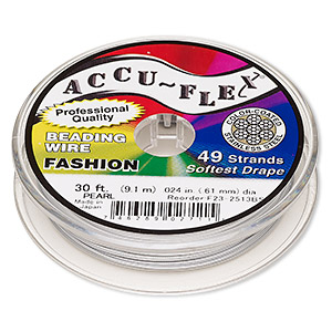 beading wire, accu-flex, nylon and stainless steel, pearl, 49 strand, 0.024-inch diameter. sold per 30-foot spool.