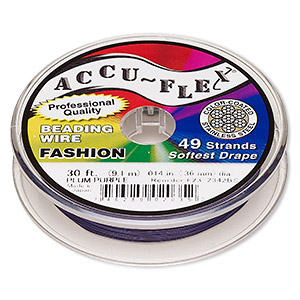 beading wire, accu-flex, nylon and stainless steel, plum purple, 49 strand, 0.014-inch diameter. sold per 30-foot spool.