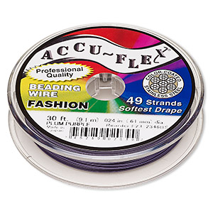 beading wire, accu-flex, nylon and stainless steel, plum purple, 49 strand, 0.024-inch diameter. sold per 30-foot spool.