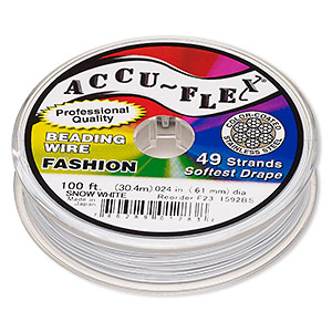 beading wire, accu-flex, nylon and stainless steel, snow white, 49 strand, 0.024-inch diameter. sold per 100-foot spool.