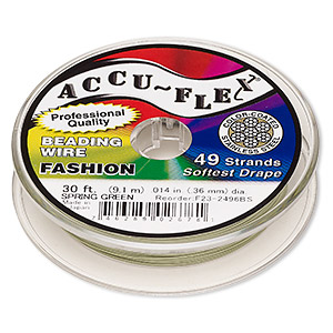 beading wire, accu-flex, nylon and stainless steel, spring green, 49 strand, 0.014-inch diameter. sold per 30-foot spool.