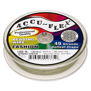 beading wire, accu-flex, nylon and stainless steel, spring green, 49 strand, 0.014-inch diameter. sold per 100-foot spool.