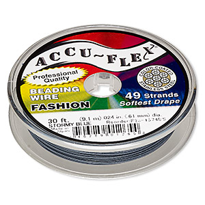 beading wire, accu-flex, nylon and stainless steel, stormy blue, 49 strand, 0.024-inch diameter. sold per 30-foot spool.