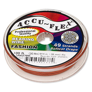 beading wire, accu-flex, nylon and stainless steel, tangerine, 49 strand, 0.014-inch diameter. sold per 100-foot spool.