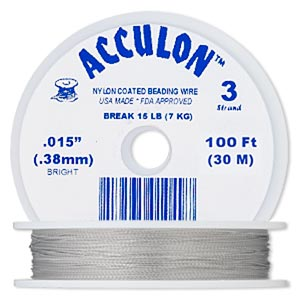 beading wire, acculon, nylon-coated stainless steel, clear, 3 strand, 0.015-inch diameter. sold per 100-foot spool.