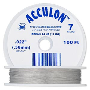 beading wire, acculon, nylon-coated stainless steel, clear, 7 strand, 0.022-inch diameter. sold per 100-foot spool.