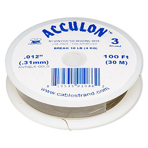 beading wire, acculon, nylon-coated stainless steel, gold color, 3 strand, 0.012-inch diameter. sold per 100-foot spool.