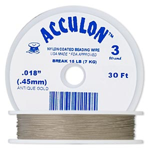beading wire, acculon, nylon-coated stainless steel, gold color, 3 strand, 0.018-inch diameter. sold per 30-foot spool.