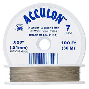 beading wire, acculon, nylon-coated stainless steel, gold color, 7 strand, 0.020-inch diameter. sold per 100-foot spool.