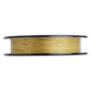 beading wire, tigertail™, nylon-coated stainless steel, gold, 3 strand, 0.015-inch diameter. sold per 100-foot spool.