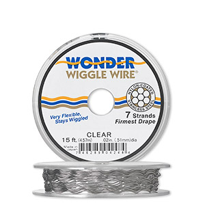 beading wire, wonder wiggle wire, stainless steel and nylon, clear, 0.02-inch diameter. sold per 15-foot spool.