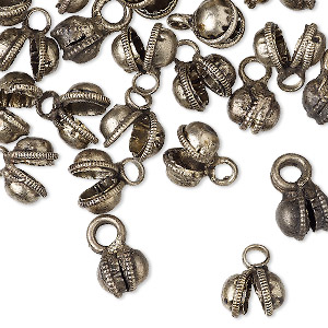 bell, antique silver-plated brass, 7mm clapperless. sold per pkg of 50.