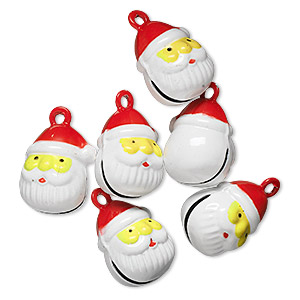 bell, brass and enamel, multicolored, 19x16mm santa head with clapper. sold per pkg of 6.