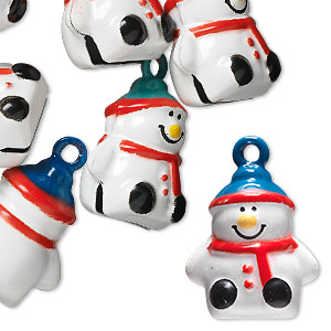 bell, brass and enamel, multicolored, 20x18mm snowman with clapper. sold per pkg of 6.