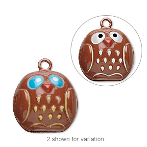 bell, brass and enamel, multicolored, 20x19mm owl with clapper. sold per pkg of 6.