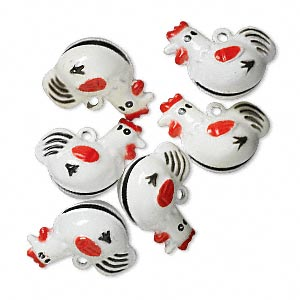 bell, brass and enamel, white / black / red, 25x21mm chicken. sold per pkg of 6.