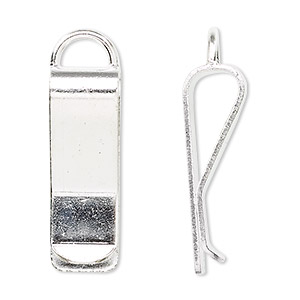 bookmark clip, silver-plated brass, 30x10mm with loop. sold per pkg of 10.