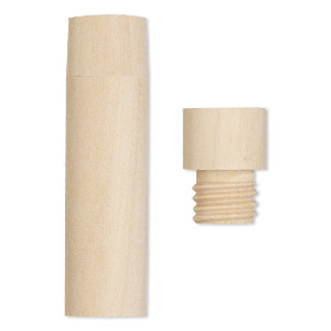 bottle, wood (natural), 2-1/4 x 7/11 inch cylinder with twist-off cap. sold per pkg of 4.