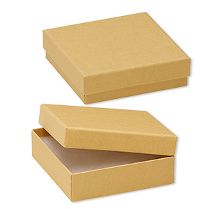 box, kraft paper, cotton-filled, 3-1/2 x 3-1/2 x 1-inch square. sold per pkg of 100.