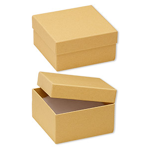 box, kraft paper, cotton-filled, 3-3/4 x 3-3/4 x 2-inch square. sold per pkg of 10.