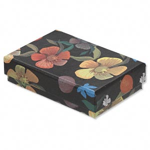 box, paper / velveteen / foam, black and multicolored, 3-1/4 x 2-1/4 x 3/4 inches with flower design. sold per pkg of 10.