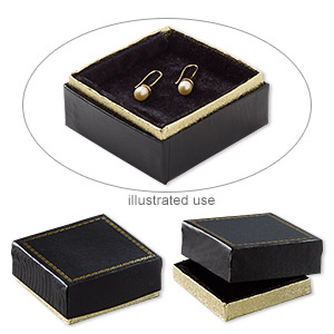 box, paper and velvet, black and gold, 3 x 3 x 1-1/8 inches. sold per pkg of 6.