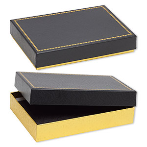 box, paper and velvet, black and gold, 7-1/8 x 4-7/8 x 1-1/4 inch rectangle. sold per pkg of 6.