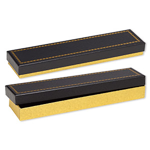 box, paper and velvet, black and gold, 8-1/8 x 1-7/8 x 7/8 inch rectangle. sold per pkg of 72.