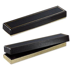 box, paper and velvet, black and gold, 8-1/8 x 1-7/8 x 7/8 inches. sold per pkg of 72.