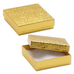 box, paper, cotton-filled, gold, 3-1/2 x 3-1/2 x 1-inch square. sold per pkg of 10.
