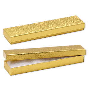 box, paper, cotton-filled, gold, 8-1/8 x 1-7/8 x 7/8 inch rectangle. sold per pkg of 10.