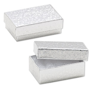 box, paper, cotton-filled, silver, 2-5/8 x 1-1/2 x 1-inch rectangle. sold per pkg of 10.