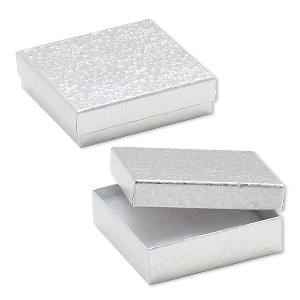 box, paper, cotton-filled, silver, 3-1/2 x 3-1/2 x 1-inch square. sold per pkg of 100.
