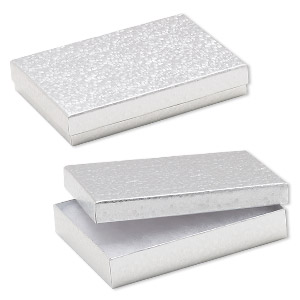box, paper, cotton-filled, silver, 5-1/4 x 3-3/4 x 1-inch rectangle. sold per pkg of 10.